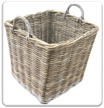 Rattan Grey Log Basket